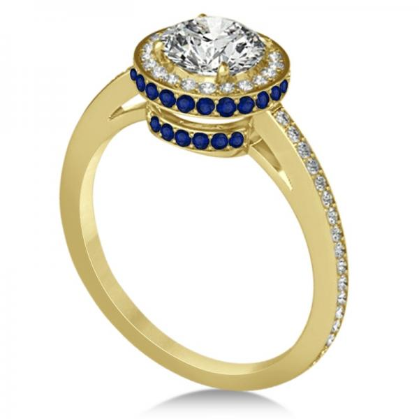 Diamond Halo Engagement Ring Blue Sapphire Accents 18k Y. Gold 0.50ct