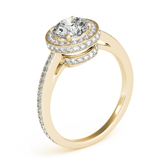 Halo Diamond Engagement Ring Setting Shank Accents 18k Y. Gold 0.50ct