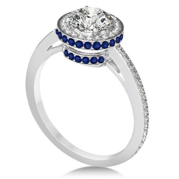 Diamond Halo Engagement Ring Blue Sapphire Accents Platinum 0 50ct