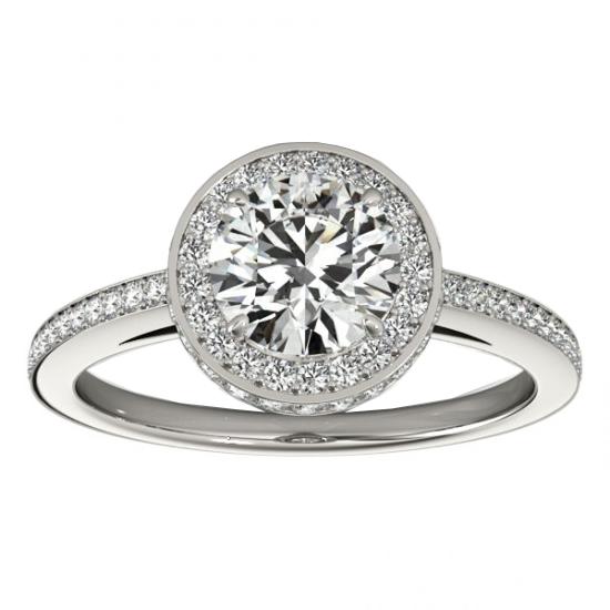 Halo Diamond Engagement Ring Setting Shank Accents Platinum 0.50ct