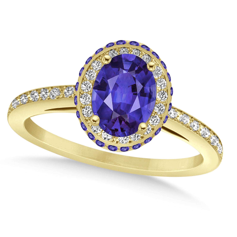 Oval Tanzanite & Diamond Halo Engagement Ring 14k Yellow ...