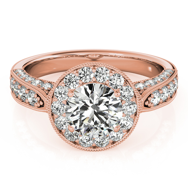 Vintage Milgrain Round Diamond Engagement Ring 14k Rose Gold (1.75ct)