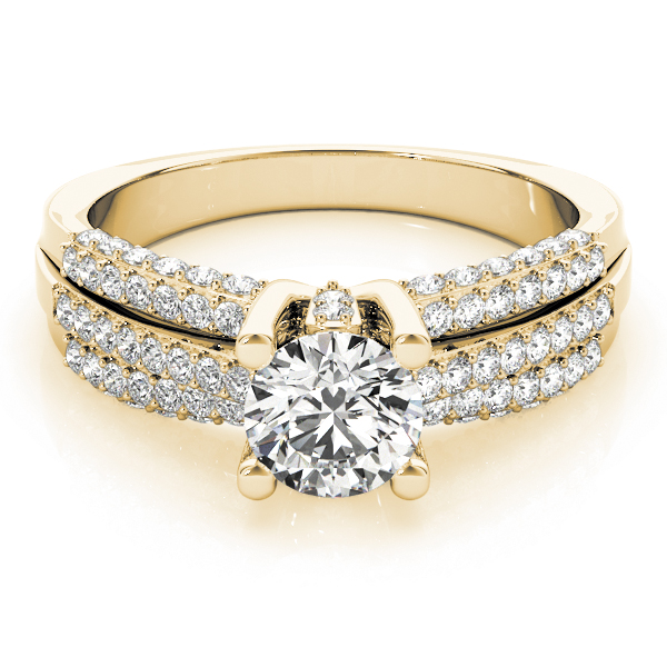 diamond accented multi row engagement ring 14k yellow gold. Black Bedroom Furniture Sets. Home Design Ideas
