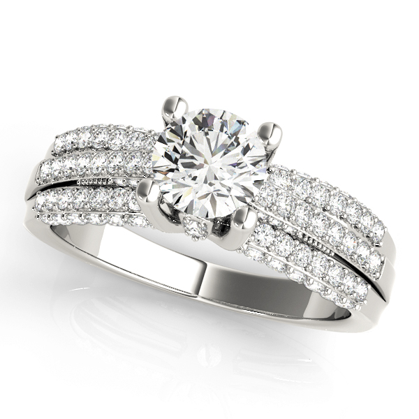 Diamond Accented Multi-Row Engagement Ring 18k White Gold (1.23 ct)