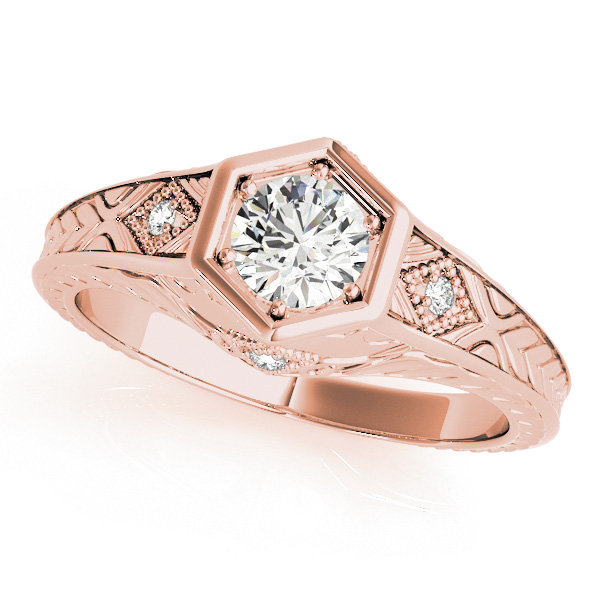 Diamond Antique Style Six Prong Engagement Ring 18k Rose Gold (0.37ct)
