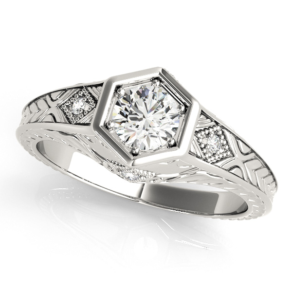Diamond Antique Style Six Prong Engagement Ring 18k White Gold (0.37ct)