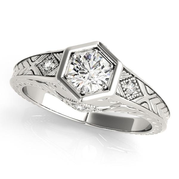 Diamond Antique Style Six Prong Engagement Ring Palladium (0.37ct)