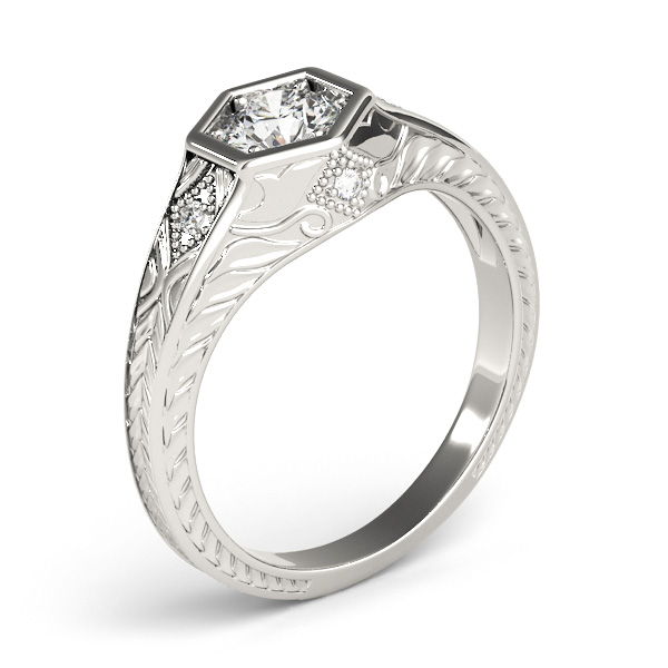 Scott Kay Palladium Engraved Three Sided Diamond Wedding: Diamond Antique Style Six Prong Engagement Ring Palladium