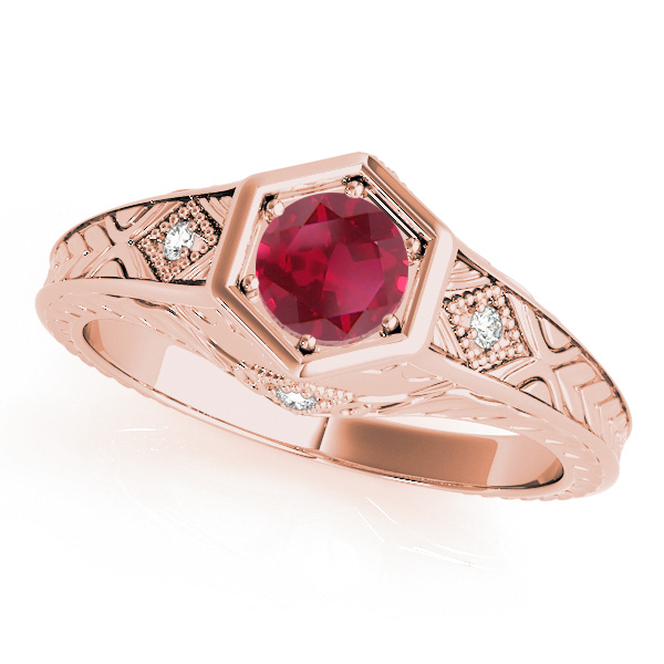 Ruby & Diamond Antique 6-Prong Engagement Ring 14k Rose Gold (0.37ct)