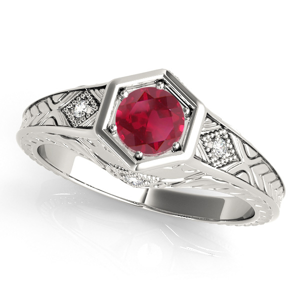 Ruby & Diamond Antique 6-Prong Engagement Ring 18k White Gold (0.37ct)