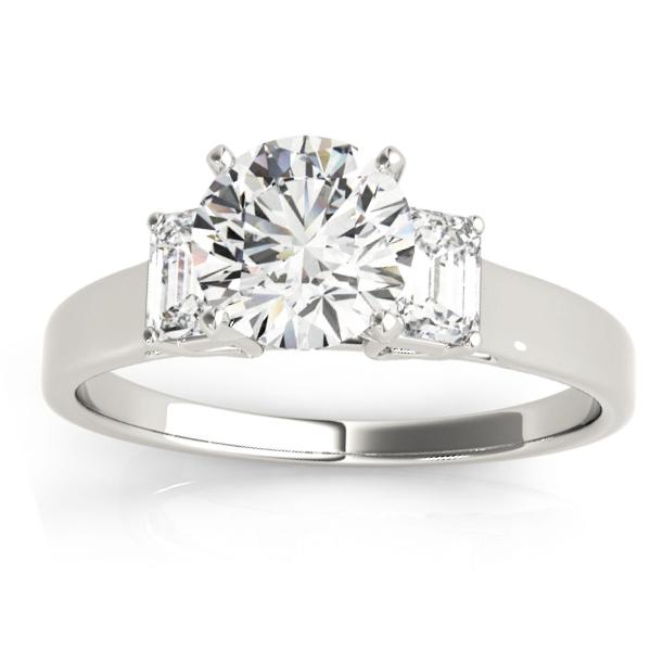 Trio Emerald Cut Diamond Sidestone Engagement Ring 14k White Gold (0.30ct)