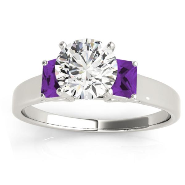 Trio Emerald Cut Amethyst Engagement Ring 14k White Gold (0.30ct)