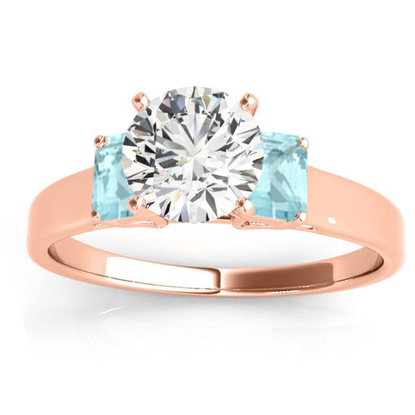 Trio Emerald Cut Aquamarine Engagement Ring 18k Rose Gold (0.30ct)