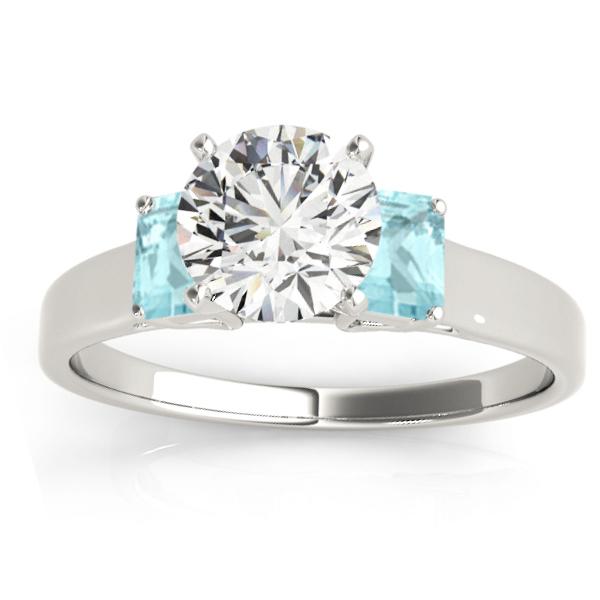 Trio Emerald Cut Aquamarine Engagement Ring 18k White Gold (0.30ct)