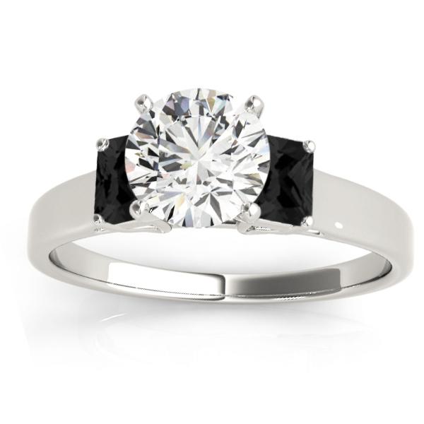 Trio Emerald Cut Black Diamond Engagement Ring Platinum (0.30ct)