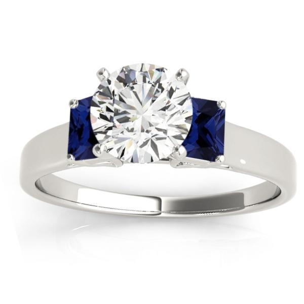 Trio Emerald Cut Blue Sapphire Engagement Ring 14k White Gold (0.30ct)