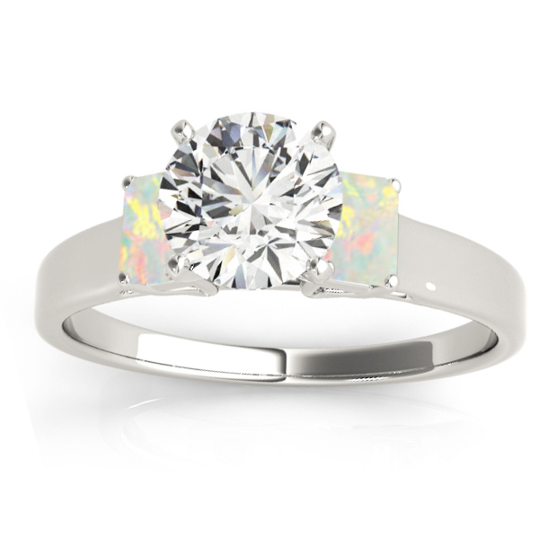 Trio Emerald Cut Opal Engagement Ring 18k White Gold (0.30ct)