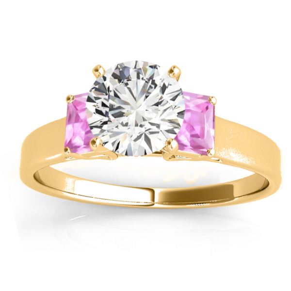 Trio Emerald Cut Pink Sapphire Engagement Ring 14k Yellow Gold (0.30ct)