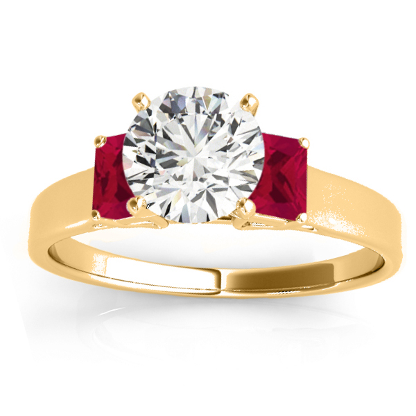 Trio Emerald Cut Ruby Engagement Ring 14k Yellow Gold (0.30ct)