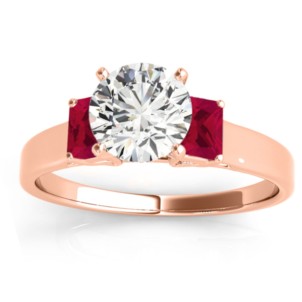 Trio Emerald Cut Ruby Engagement Ring 18k Rose Gold (0.30ct)