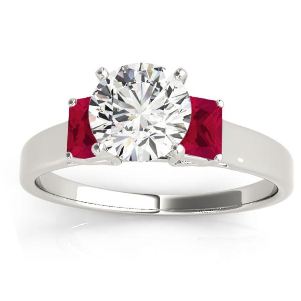 Trio Emerald Cut Ruby Engagement Ring Palladium (0.30ct)