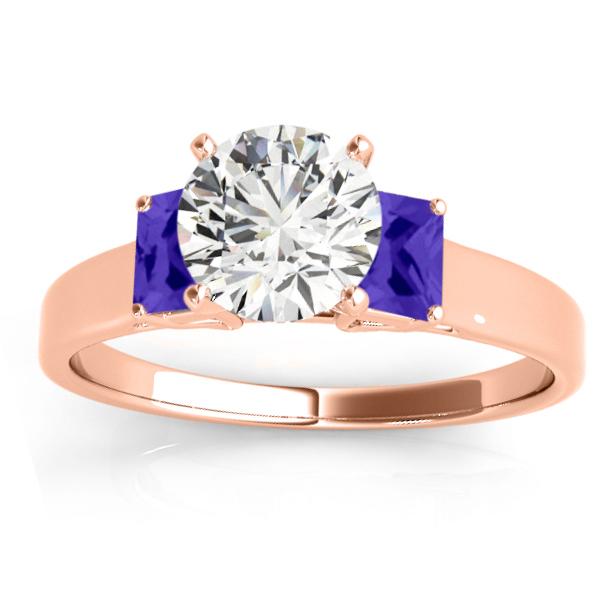 Trio Emerald Cut Tanzanite Engagement Ring 18k Rose Gold (0.30ct)