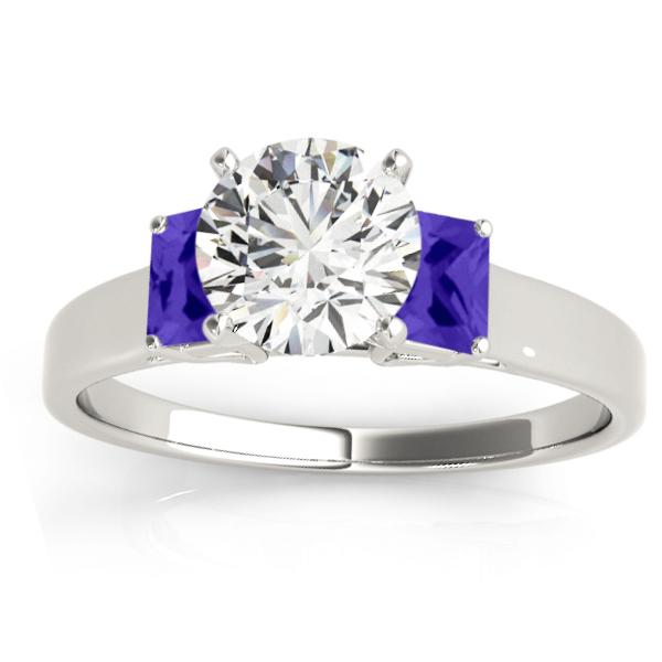 Trio Emerald Cut Tanzanite Engagement Ring Platinum (0.30ct)