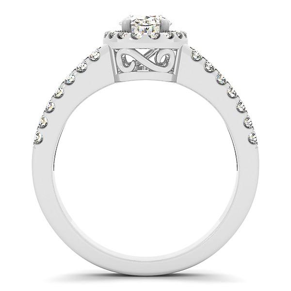 Oval Diamond Halo Engagement Ring Split Shank 14k White Gold 0.88ct