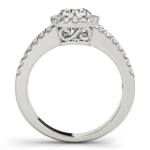 Split Shank Halo Diamond Engagement Ring Setting Palladium 0.60ct