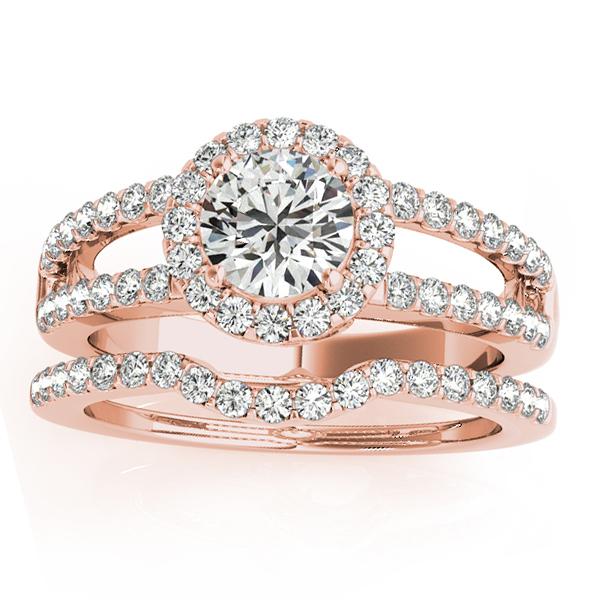 Diamond Split Shank & Curved Band Bridal Set 18k Rose Gold 0.95ct