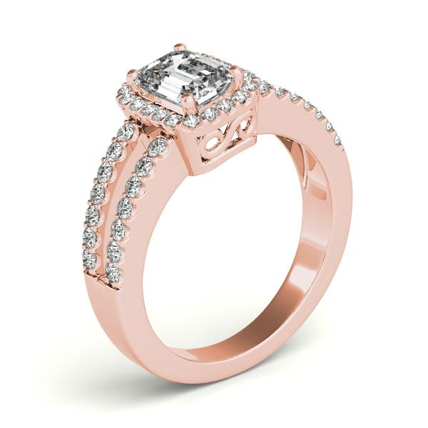 Emerald Cut Diamond Engagement Ring, Split Shank 14k Rose Gold 1.52ct