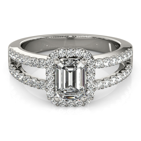 Emerald Cut Diamond Engagement Ring, Split Shank 18k White Gold 1.52ct