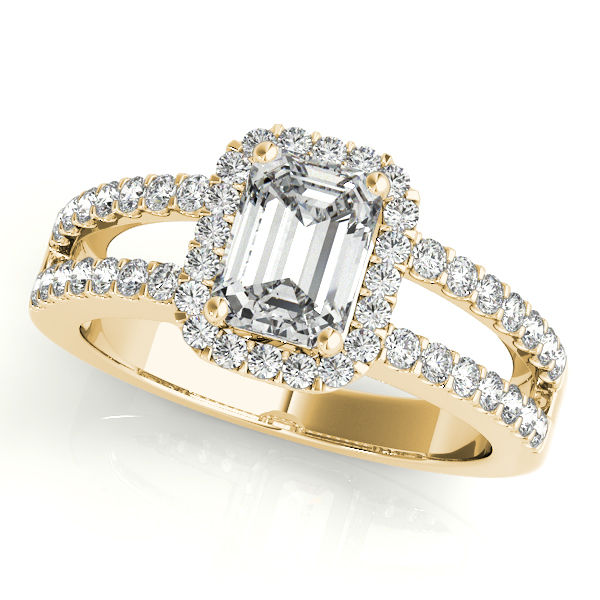Emerald Cut Diamond Engagement Ring Split Shank 18k Yellow Gold 1.52ct