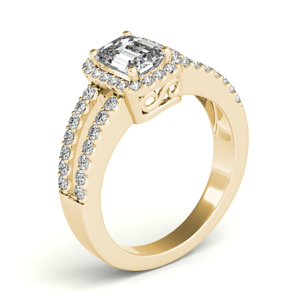 emerald cut engagement ring split shank 18k yellow