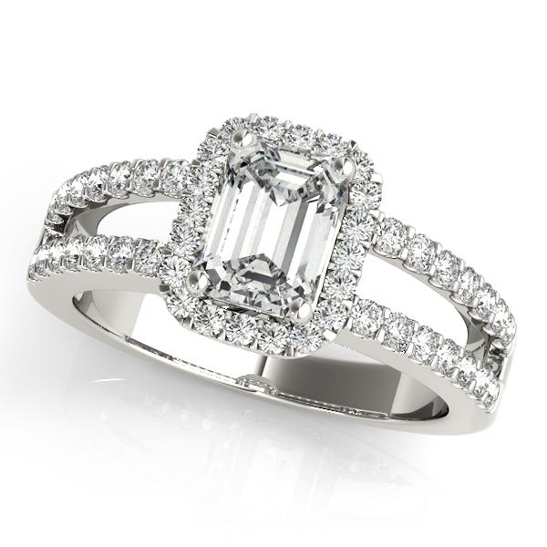 Emerald Cut Diamond Engagement Ring Split Shank Palladium 1 52ct