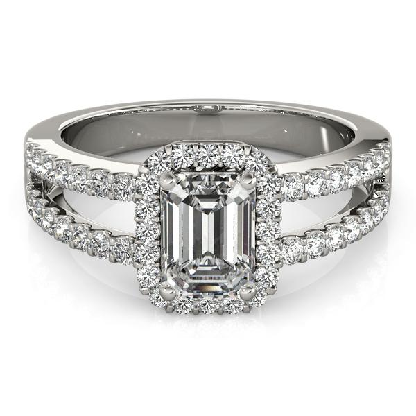 Emerald Cut Diamond Engagement Ring Split Shank Platinum 1 52ct