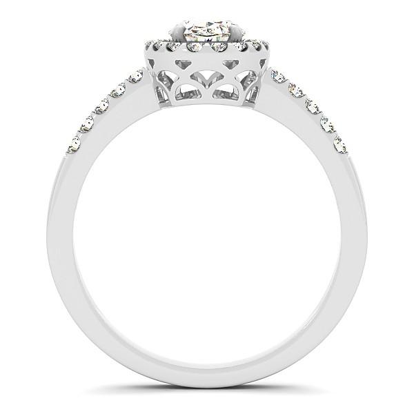 Diamond Oval Cut Halo Engagement Ring Semi Eternity 14k W. Gold 0.75ct