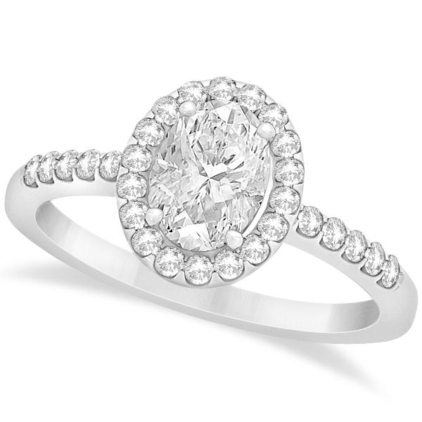 Oval Diamond Halo Semi Eternity Bridal Set in 14k White Gold (1.37ct)