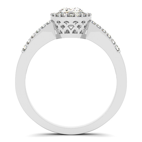 Pear Diamond Halo Engagement Ring with Accents 14k White Gold 0.90ct