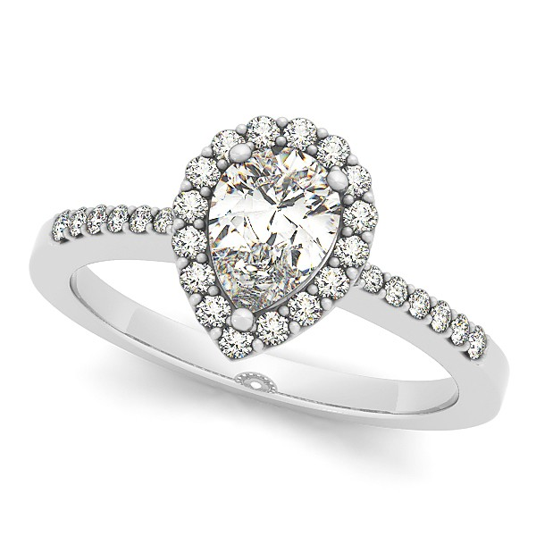 Pear Diamond Halo Engagement Ring with Accents 14k White Gold 1.20