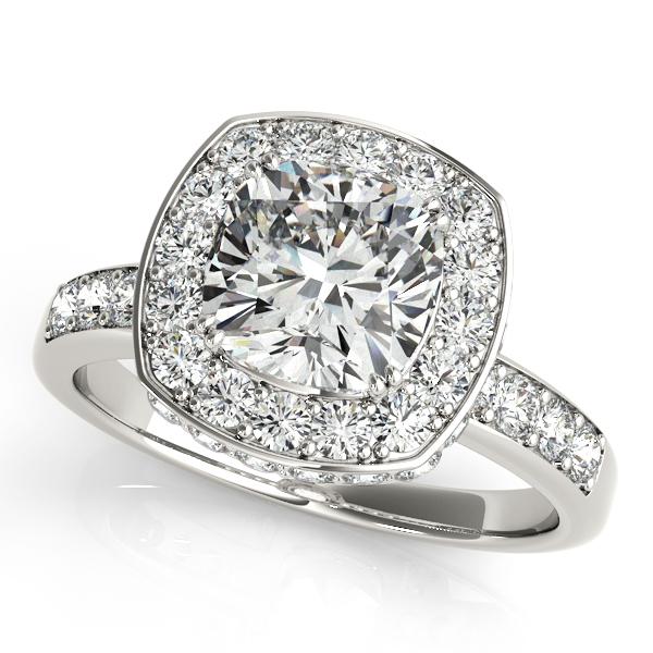 Cushion Cut Halo Diamond Engagement Ring 14k White Gold (1.34ct)