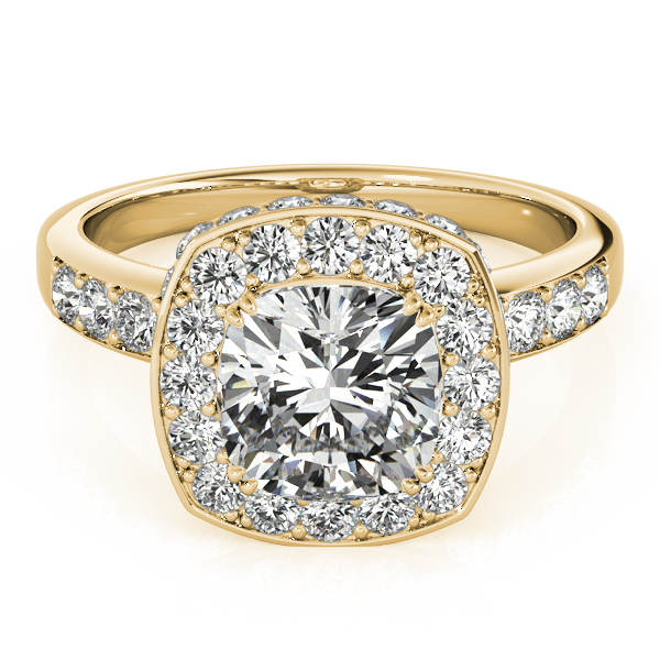 Cushion Cut Halo Diamond Engagement Ring 14k Yellow Gold 1 34ct