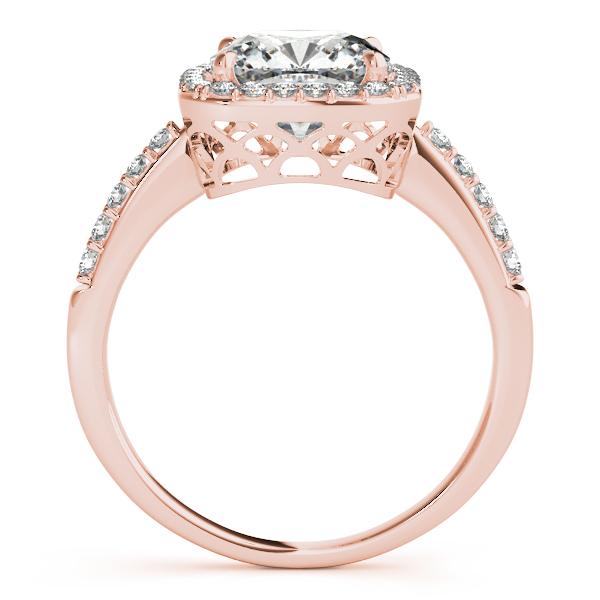 Cushion Cut Square Shape Diamond Halo Bridal Set 18k Rose Gold (1.17ct)