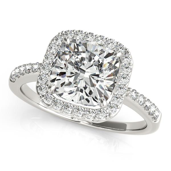 Cushion Cut Diamond Halo Engagement Ring 14k White Gold (2.00ct)
