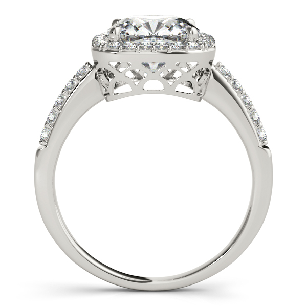 Cushion Cut Diamond Halo Engagement Ring Platinum (0.50ct)