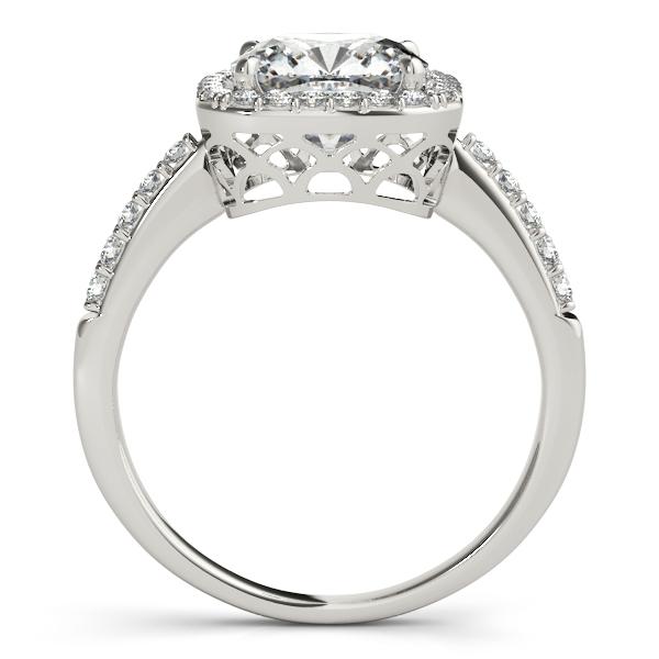 Cushion Cut Diamond Halo Engagement Ring Platinum (0.50ct)