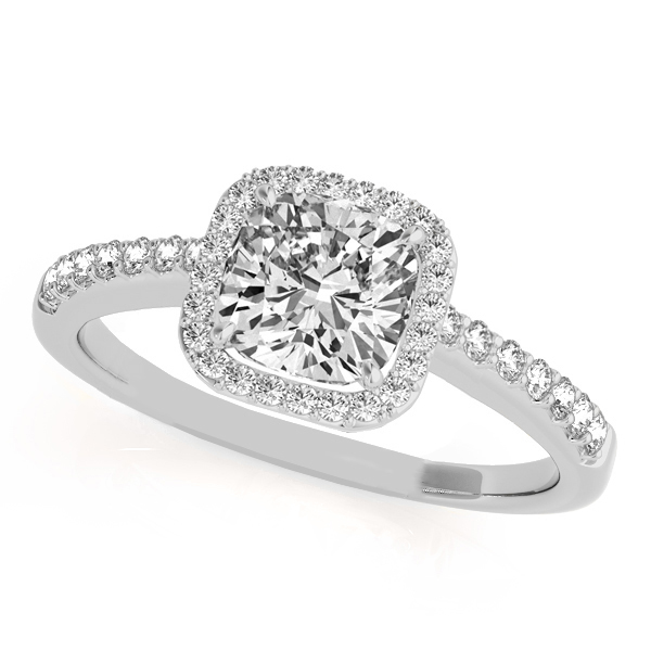 cushion cut square shape diamond halo bridal set 18k white gold 067ct - Halo Wedding Rings