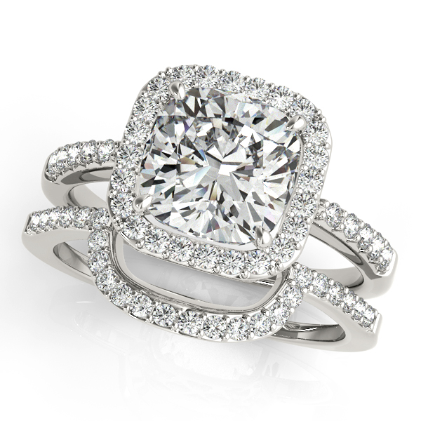 Cushion Cut Square Shape Diamond Halo Bridal Set 14k W