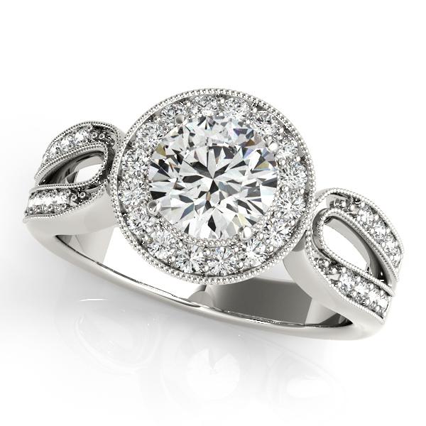 Art Deco Unique Diamond Wedding Ring 14k Two Tone Gold: Art Deco Split Shank Diamond Halo Engagement Ring 14k