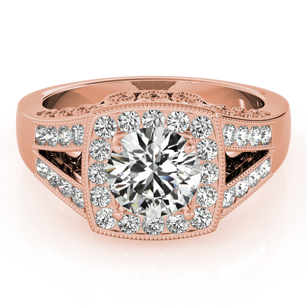 Split Shank Square Halo & Round Engagement Ring 14k Rose Gold 1.58ct